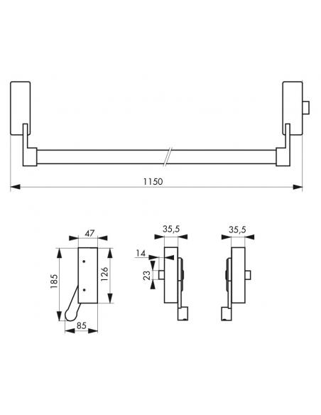 Serrure anti-panique 1 point latéral réversible laqué blanc Porte maxi 1150 mm - THIRARD Serrure en applique