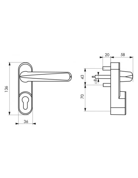 Poignée de manoeuvre extérieure, sans cylindre, blanc - THIRARD Poignée