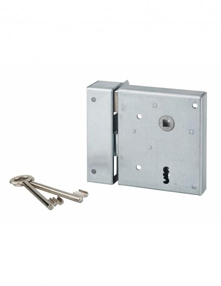 Serrure en applique Alsace à clé à fouillot pour porte int., gauche tir., carré 8mm, axe 60mm, 110x70mm, noir, 2 clés - THIRA...