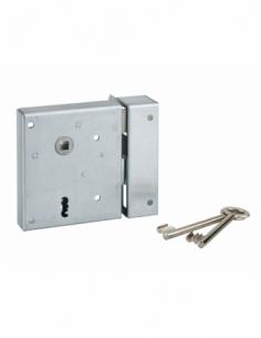 Serrure en applique Alsace à clé à fouillot pour porte int., droite tir., carré 8mm, axe 60mm, 110x70mm, noir, 2 clés - THIRA...