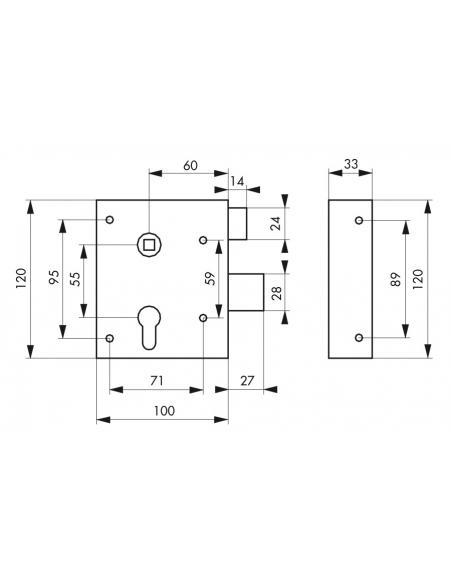 Boitier de serrure en applique Alsace double entrée à fouillot pour entrée, réversible, axe 60mm, 100x117mm, zingué - THIRARD...