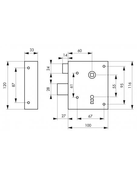 Serrure applique Alsace à clé à fouillot pour porte int., gauche pouss., carré 8mm, axe 60mm, 110x70mm, noir, 2 clés - THIRAR...