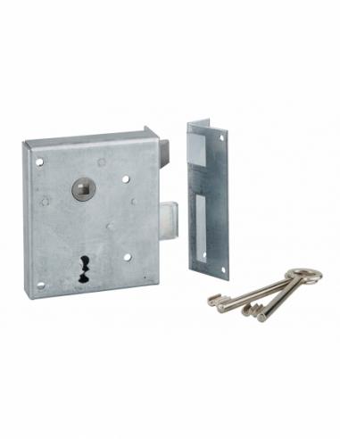 Serrure applique Alsace à clé à fouillot pour porte int., droite pouss., carré 8mm, axe 60mm, 110x70mm, noir, 2 clés - THIRAR...