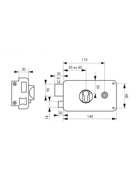 Boitier de serrure horizontale en applique double entrée pour entrée, gauche poussant, axe 60mm, 140x88mm, noir - THIRARD Ser...