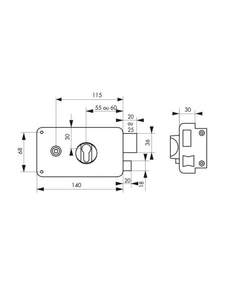 Boitier de serrure horizontale en applique double entrée pour entrée, droite poussant, axe 60mm, 140x88mm, noir - THIRARD Ser...