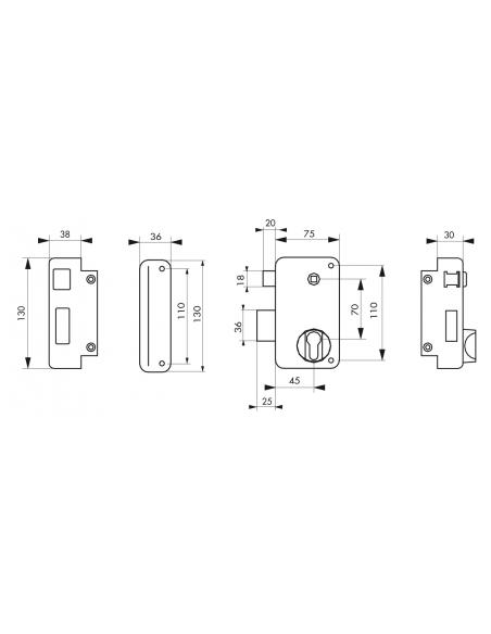 Boitier de serrure verticale en applique double entrée à fouillot pour portail, gauche, axe 45mm, 75x130mm, noir - THIRARD Se...