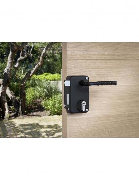 Boitier de serrure verticale en applique double entrée à fouillot pour entrée, gauche, axe 45mm, 75x130mm, noir - THIRARD Ser...