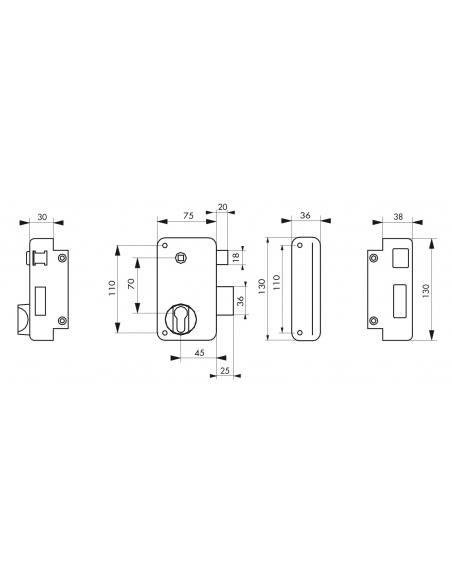 Boitier de serrure verticale en applique double entrée à fouillot pour portail, droite, axe 45mm, 75x130mm, noir - THIRARD Se...