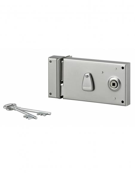 Serrure 4 gorges en applique à clé à fouillot pour portail, gauche, axe 58mm, 140x82mm, zingué, 2 clés - THIRARD Serrure en a...