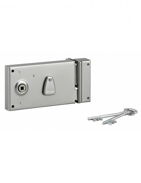 Serrure 4 gorges en applique à clé à fouillot pour portail, droite, axe 58mm, 140x82mm, zingué, 2 clés - THIRARD Serrure en a...