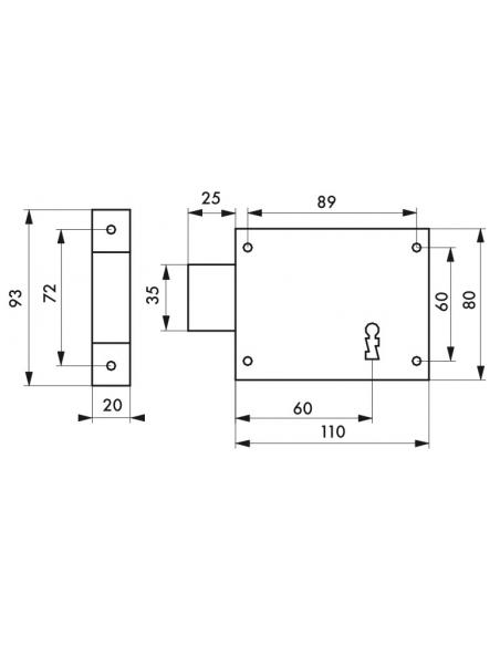 Serrure horizontale en applique à clé pour porte de cave, pêne seul, gauche, axe 60mm, 110x80mm, noir, 1 clé - THIRARD Serrur...