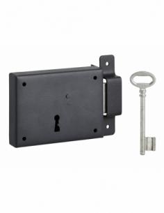 Serrure horizontale en applique à clé pour porte de cave, pêne seul, droite, axe 60mm, 110x80mm, noir, 1 clé - THIRARD Serrur...