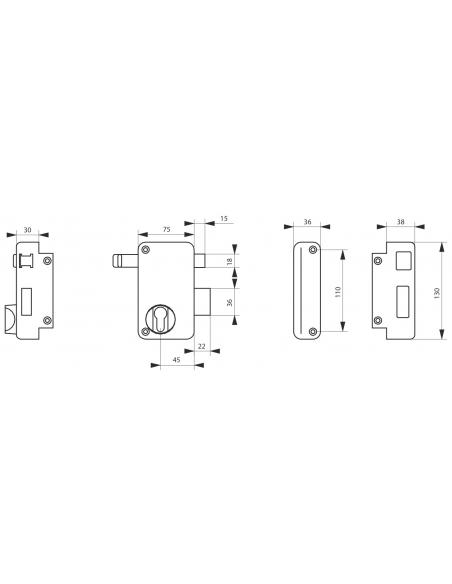 Boitier de serrure verticale en applique double entrée à tirage pour porte d'entrée, droite, axe 45mm, 75x130mm, noir - THIRA...