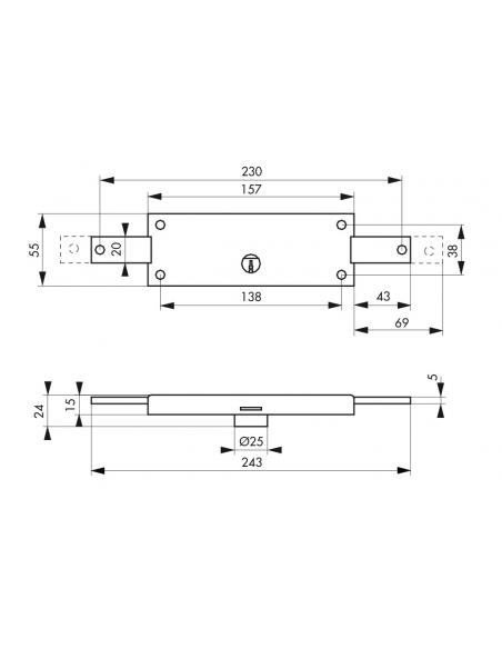Serrure en applique horizontale à cylindre pour rideau métallique, 2 pts latéraux, 157x55mm, zingué, 3 clés - THIRARD Serrure...