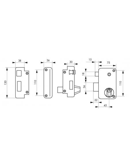 Serrure verticale en applique double entrée à fouillot pour porte d'entrée, gauche, axe 45mm, 75x130mm, noir, 3 clés - THIRAR...