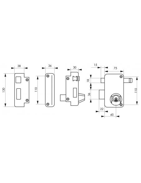 Serrure verticale en applique double entrée à tirage pour porte d'entrée, gauche, axe 45mm, 75x130mm, noir, 3 clés - THIRARD ...
