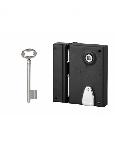 Serrure verticale en applique à clé à fouillot pour porte int., gauche, carré 7mm, axe 40mm, 110x70mm, noir, 2 clés - THIRARD...