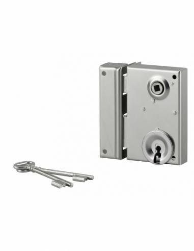 Serrure verticale en applique à clé à fouillot pour portail, gauche, axe 40mm, 70x110mm, zingué, 2 clés - THIRARD Serrure en ...