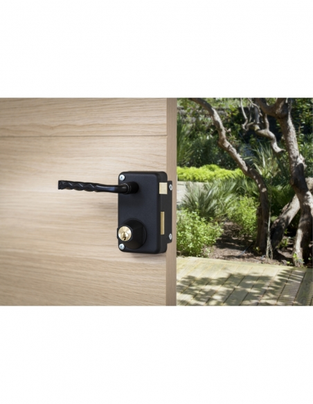 Serrure verticale en applique double entrée à tirage pour porte d'entrée, droite, axe 45mm, 75x130mm, noir, 3 clés - THIRARD ...