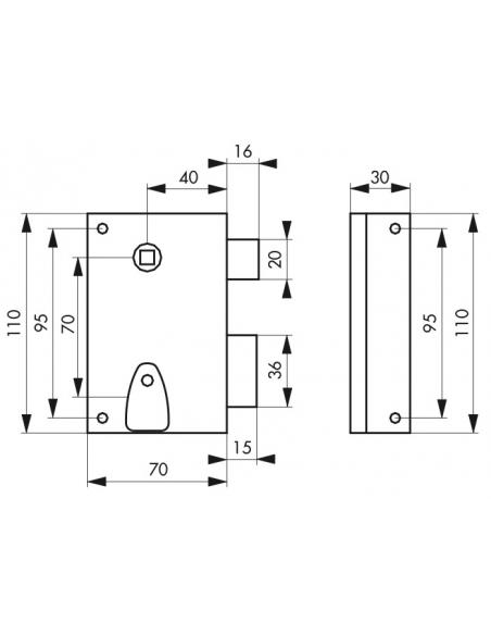 Serrure verticale en applique à clé à fouillot pour porte int., droite, carré 7mm, axe 40mm, 110x70mm, noir, 2 clés - THIRARD...