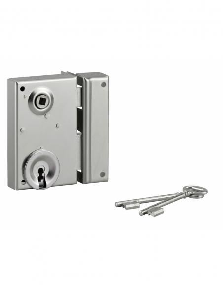 Serrure verticale en applique à clé à fouillot pour portail, droite, axe 40mm, 70x110mm, zingué, 2 clés - THIRARD Serrure en ...
