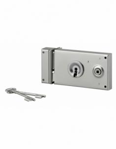 Serrure horizontale en applique à clé à fouillot pour portail, gauche, axe 58mm, 140x80mm, zingué, 2 clés - THIRARD Serrure e...