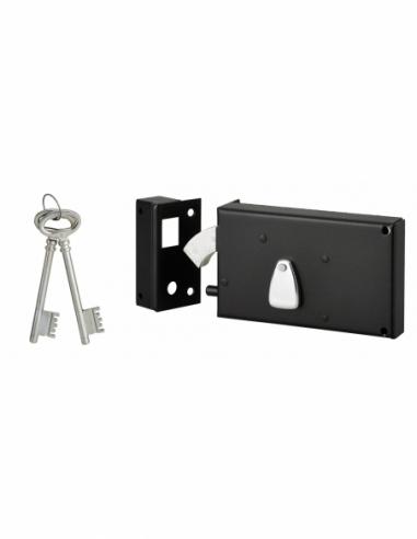 Serrure horizontale 4 gorges en applique à clé à crochet pour portail, gauche, axe 58mm, 140x82mm, noir, 2 clés - THIRARD Ser...