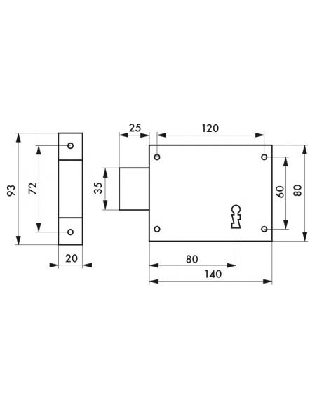 Serrure horizontale en applique à clé pour porte de cave, pêne seul, gauche, axe 80mm, 140x80mm, noir, 1 clé - THIRARD Serrur...