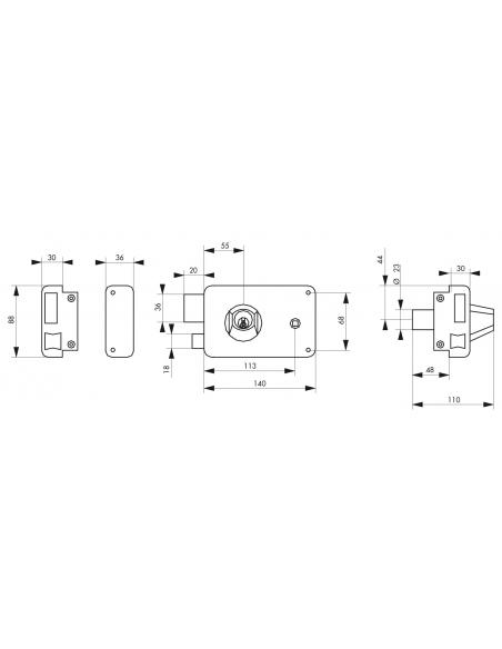 Serrure horizontale en applique double entrée à fouillot pour porte d'entrée, gauche, axe 55mm, 140x88mm, noir, 3 clés - THIR...