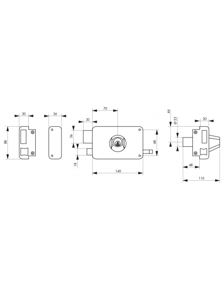 Serrure horizontale en applique double entrée à tirage pour porte d'entrée, gauche, axe 70mm, 140x88mm, noir, 3 clés - THIRAR...