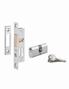 Serrure encastrable avec cylindre pour porte métallique, axe 15mm, cyl. 30x30mm, bouts carrés, 3 clés - THIRARD Serrure encas...
