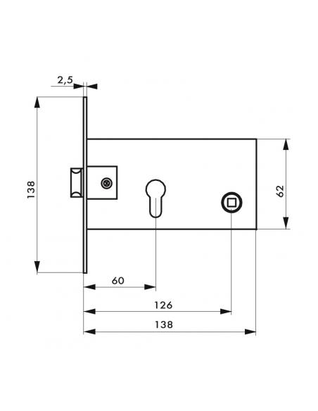 Boitier de serrure encastrable à cylindre pour porte d'entrée, axe 60mm, bouts carrés, nickelé - THIRARD Serrure encastrable