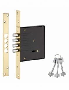 Serrure encastrable à pênes ronds pour porte d'entrée, axe 60mm, bouts carrés, 3 clés - THIRARD Serrure encastrable