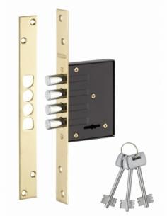 Serrure encastrable pour porte d'entrée, axe 40mm, 4 pênes ronds, têtière laitonnée, 3 clés - THIRARD Serrure encastrable