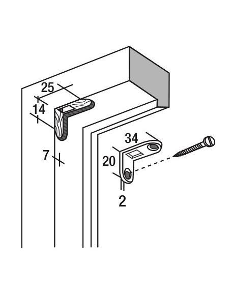 Gâche équerre de tringle d'extrémité pour fenêtre, 34x20x19x2mm, Fenster-Unijet, 0-0395C-00-0-1 - FERCO by THIRARD Gâche de p...