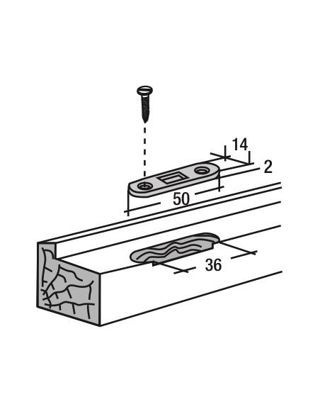 Gâche d'extrémité plate encastrable pour fenêtre, 50x14x2mm, Fenster-Unijet, 0-0295R-00-0-1 - FERCO by THIRARD Gâche de porte