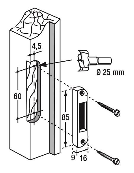 Gâche centrale encastrable réversible pour fenêtre, 85x16x9mm, Fenster, E-11639-00-0-1 - FERCO by THIRARD Gâche de porte