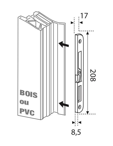 Gâche centrale en applique pour porte d'entrée, gauche, 208x17x8mm, Europa-Fercomatic, G-22898-00-L-1 - FERCO by THIRARD Gâch...