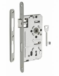Serrure encastrable Alsace à clé pour porte de chambre, droite, axe 55mm, bouts ronds, têtière vernie, 1 clé - THIRARD Serrur...