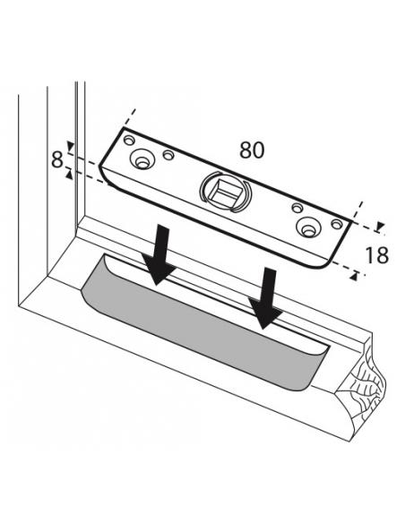 Gâche de tringle simple pour fenêtre 1 vantail Compatible UNIJET Dim.80x18mm FERCO E-19551-32-0-1 - FERCO by THIRARD Gâche de...