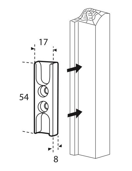 Gâche galet latéral en applique pour fenêtre, 54x77mm, Unijet, 9-42301-18-0-1 - FERCO by THIRARD Gâche de porte