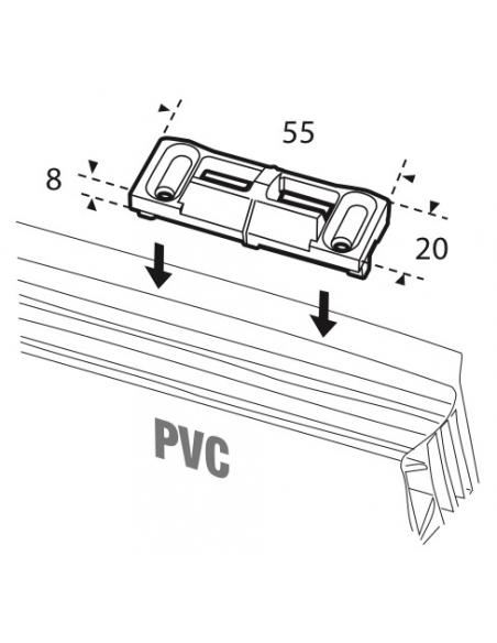 Gâche de tringle double pour fenêtre 2 vantaux Unijet dimensions : 55 x 20 mm - FERCO by THIRARD Gâche de porte