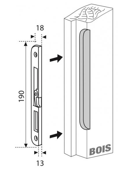 Gâche centrale encastrable pour porte d'entrée bois, droite, 190x18x14mm, Fercomatic, G-22826-00-R-1 - FERCO by THIRARD Gâche...