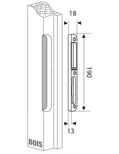 Gâche centrale encastrable pour porte d'entrée bois, gauche, 190x18x14mm, Secury-Europa, E-22870-00-L-1 - FERCO by THIRARD Gâ...