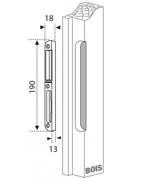 Gâche centrale encastrable pour porte d'entrée bois, droite, 190x18x14mm, Secury-Europa, E-22870-00-R-1 - FERCO by THIRARD Gâ...
