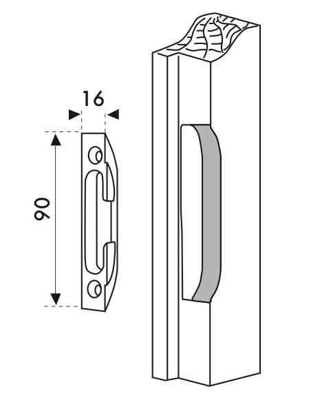 Gâche galet encastrable réversible pour porte d'entrée, 90x16x11mm, 0-0318-00-0-1 - FERCO by THIRARD Gâche de porte