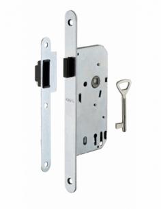 Serrure encastrable magnétique à clé pour porte de chambre, axe 40mm, bouts ronds - THIRARD Serrure encastrable