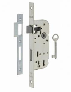 Serrure encastrable à clé pour porte de chambre, axe 40mm, bouts carrés, 1 clé - THIRARD Serrure encastrable