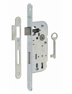 Serrure encastrable NF à clé pour porte de chambre, axe 40mm, bouts ronds, 1 clé - THIRARD Serrure encastrable