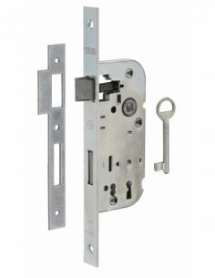 Serrure encastrable NF à clé pour porte de chambre, axe 40mm, bouts carrés, zingué, 1 clé - THIRARD Serrure